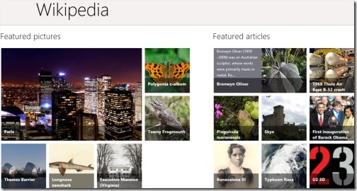 Wikipedia Windows 8 app