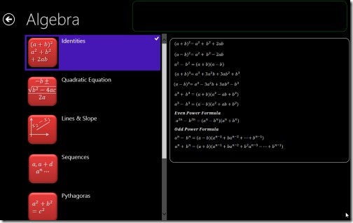 Windows 8 Mathematics Formula Apps
