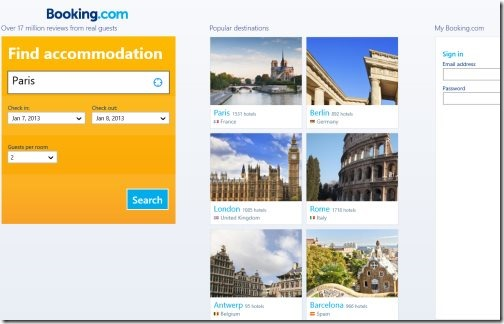Windows 8 apps to book hotel