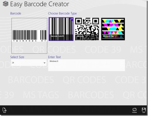 Windows 8 barcode generator apps