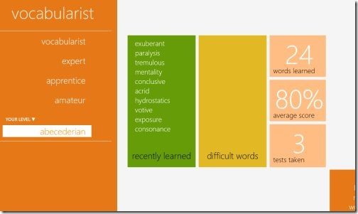 Windows 8 vocabulary app