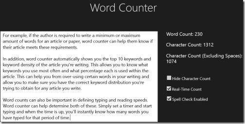 Windows 8 word counter app