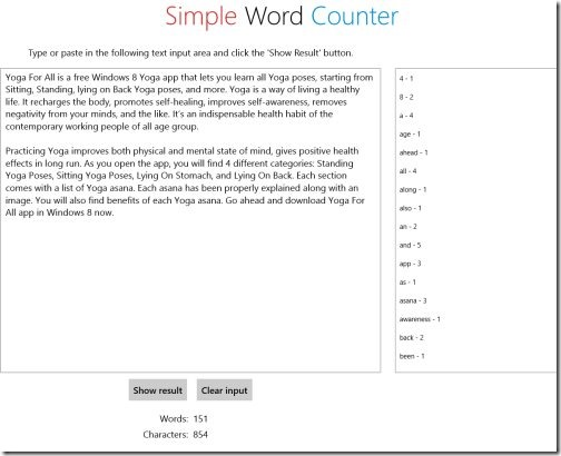 Windows 8 word counter apps