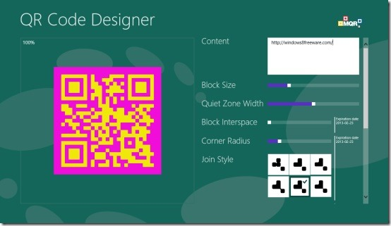 QR Code Designer app for Windows 8