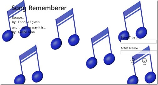 Windows 8 app to remember songs