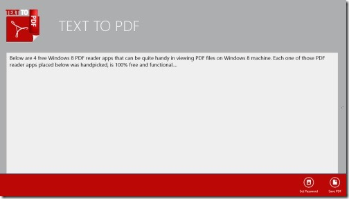 Windows 8 text to PDF converter app