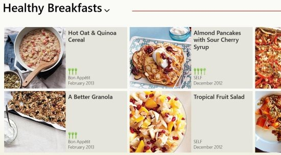 Epicurious free windows 8 recipes app windows 8 freeware click on the section you want and then choose the recipe you want you will see a beautiful picture of dish and beside it the ingredients as shown below forumfinder Gallery