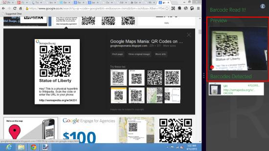 BarCode Read It! Windows 8 QR Code Scanner App