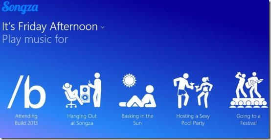 Songza music app for windows 8 interface