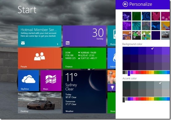 windows 8.1 start screen colors