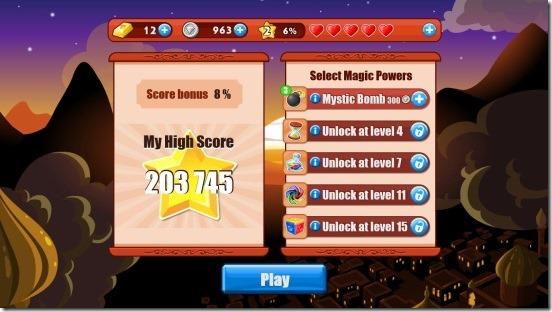 Daimond Dash - main screen
