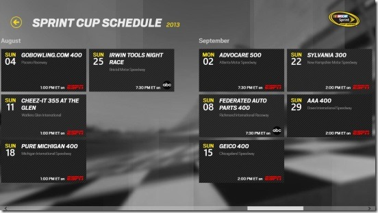 NASCAR - Sprint Cup Schedules