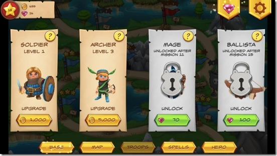 Royal Revolt-troops unlock-upgrade screen