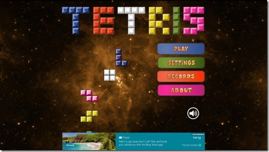 Tetris- main screen