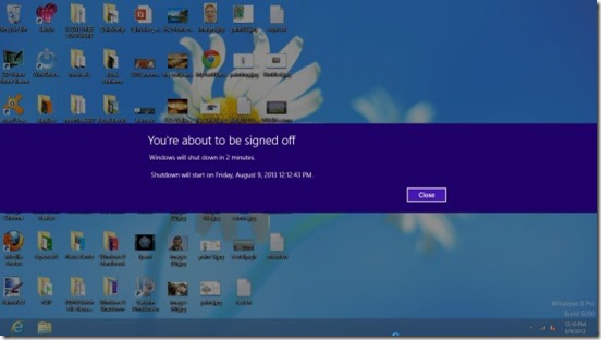 Windows 8 Shutdown-shutdown message