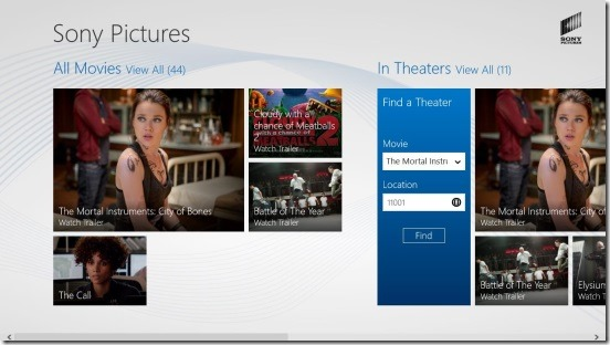 Experience Sony Pictures - Main Screen