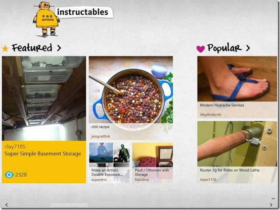 Instructables-Main Screen