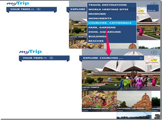 MyTrip- Choose from categories
