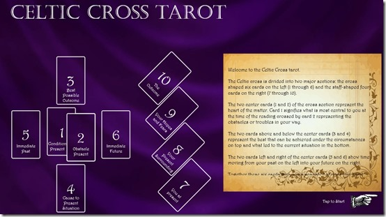 Celtic Cross Tarot- Main Screen