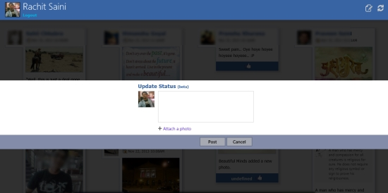 Feedlets for Facebook- update your status