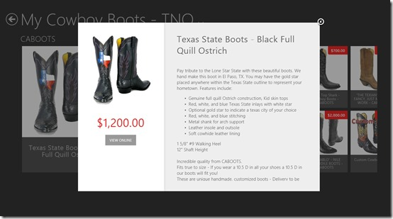 My Cowboy Boots - TNO- Products specifications