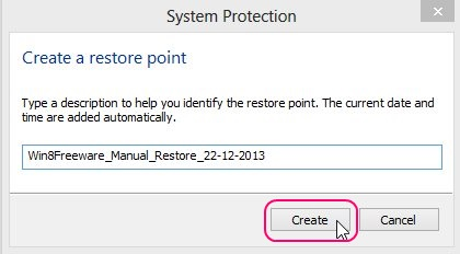 Creating a System Restore Point