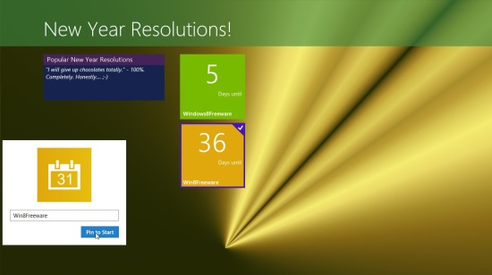 New Year Resolutions app - Pinning to Start Screen