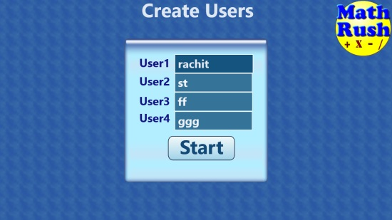 Math Rush Basic Operations Lite- Main screen