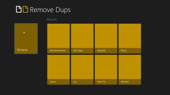 Remove Dups Start Screen