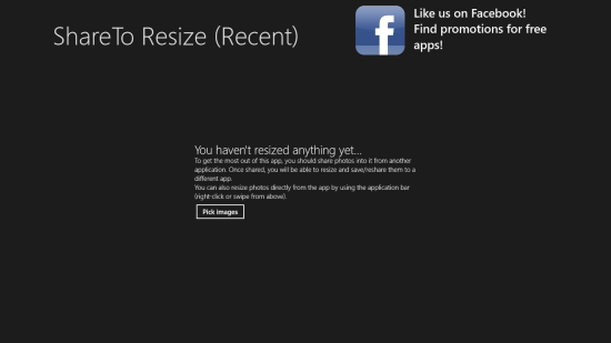 ShareToResize Start Screen
