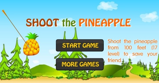 Shoot The Pineapple- Landing page