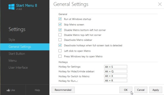 Start Menu 8 - General Settings tab