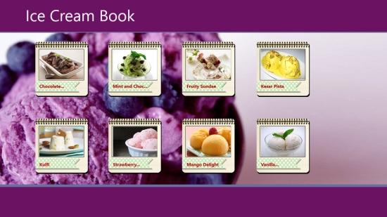 Ice Cream Book - Start screen
