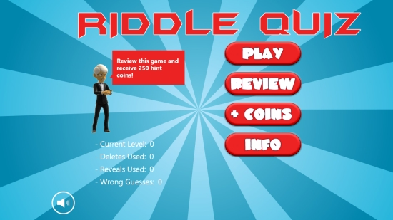Riddle Quiz - Start screen