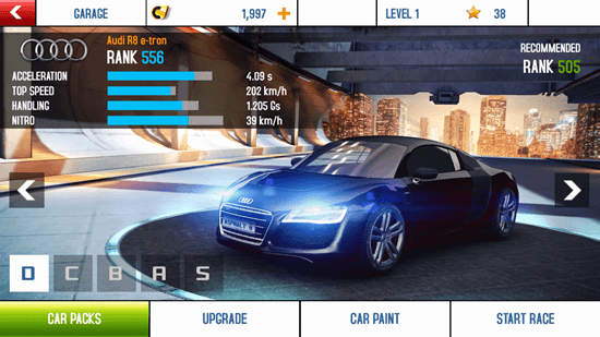 Asphalt 8: Airborne - Options