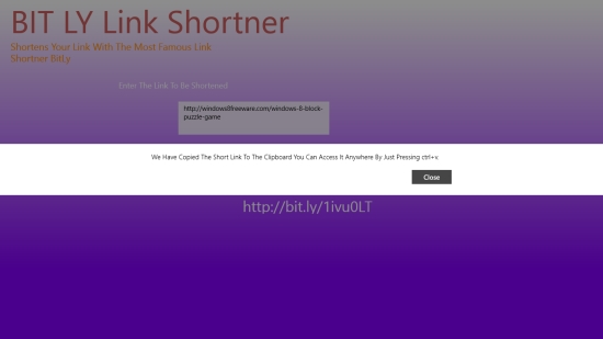 BIT LY Shortener - Shortened URL