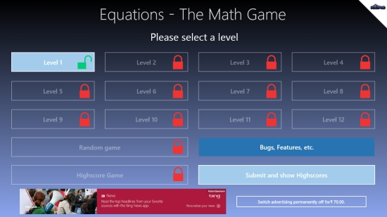 Equations - The Math Game - Start screen