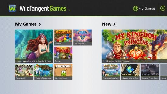 WildTangentGames - My Games view