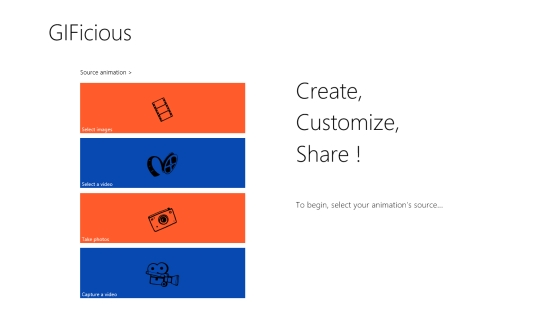 GIFicious - Start screen