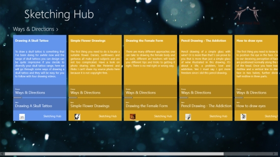 Sketching Hub - Main screen