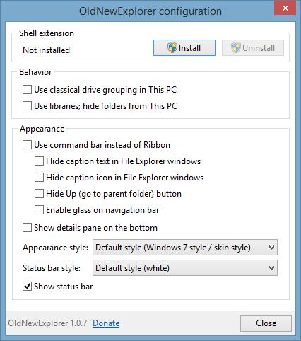 OldNewExplorer - Configuration