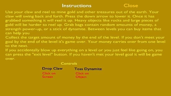 Gold Miner Classic Instructions