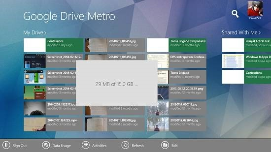 Google Drive Metro data usage