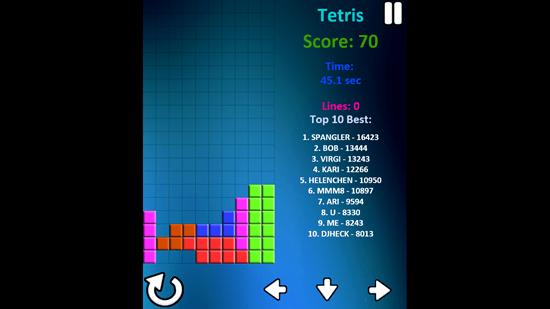 Tetris -Gameplay screen