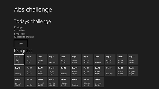 Abs Challenge Challenge Screen