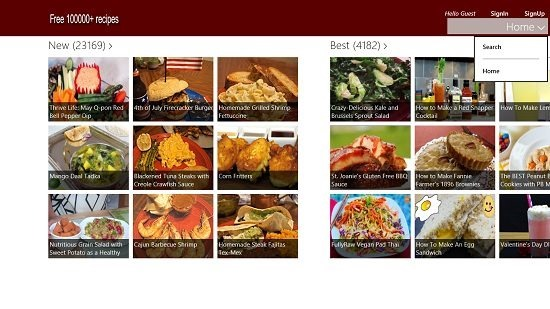 Free 100,000  recipes home menu
