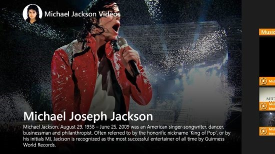 Michael Jackson Videos Main Screen
