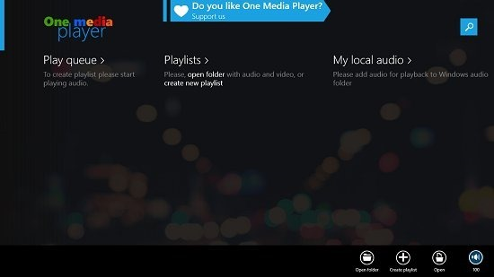One Media Player First Run Main Screen
