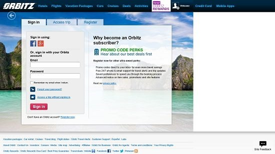 Orbitz Sign In Page