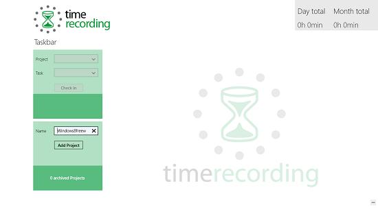 Timerecording main screen